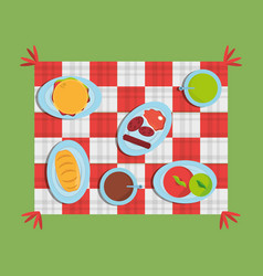 Picnic checkered diferent food delicious vector