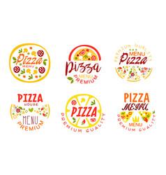 pizza premium quality menu labels collection fast vector image