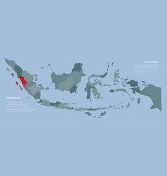 Province west sumatra and country map indonesia vector