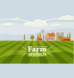 rural cute landscape with farm cartoon style vector image