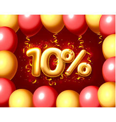 Sale 10 off ballon number on red background vector