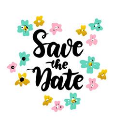 save date lettering postcard vector image