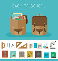 School equipment and backpacks vector