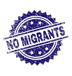 Scratched textured no migrants stamp seal vector