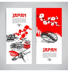 Set japanese sushi banners vector
