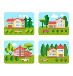 Set of cottages vector image