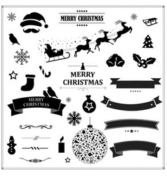 set vintage black christmas symbols and ribbons vector image