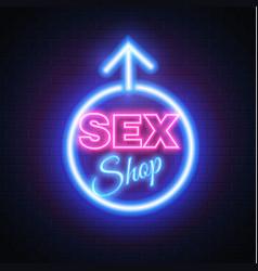 Sex shop neon sign gender woman symbol vector