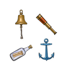 Ship bell anchor telescope message in bottle vector