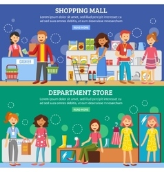 Shopping Mall Department Store 2 Banners vector