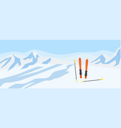 ski on mountains snow concept background flat vector image