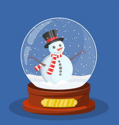 snow glass globe with christmas snowman vector image