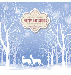Snow winter landscape deers merry christmas card vector