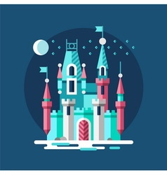 Snowy castle Ice palace in the winter vector image