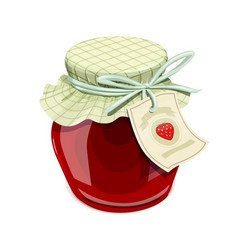 strawberry jam jar vintage vector image