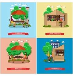 Street food concept posters People sell vector image