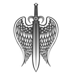 Sword with wings tattoo vector