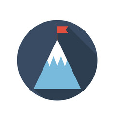 top of mountain with flag flat icon goal business vector image