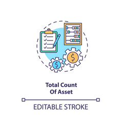 Total asset count concept icon vector