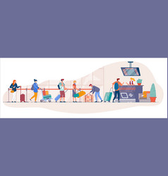 traveler queue from airport terminal check vector image