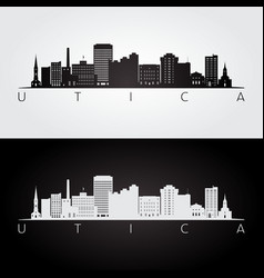 utica usa skyline and landmarks silhouette vector image