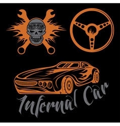 Vintage label sport car theme with carflameskull vector