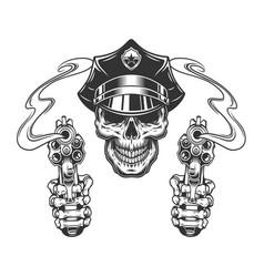Vintage skull in police hat vector