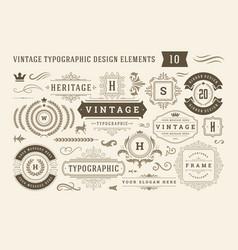 Vintage typographic design elements set vector