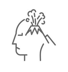 Volcano on human head vector