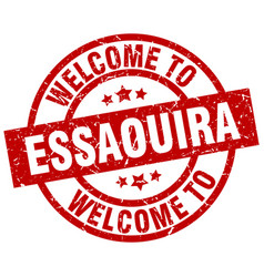 Welcome to essaouira red stamp vector