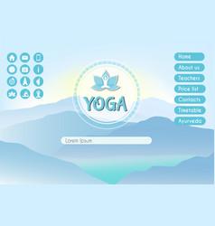 Yoga studio website landing page template with vector