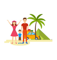 young family is traveling in his car vector image