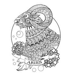 aries zodiac sign coloring book vector image