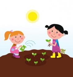 children in garden vector image vector image