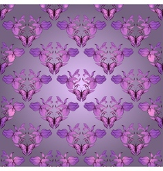 Filigree damask seamless with butterfly vector image