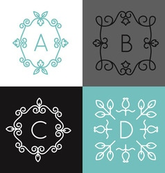 Linear set of floral frame for text or logo vector image