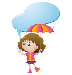 little girl holding umbrella vector image