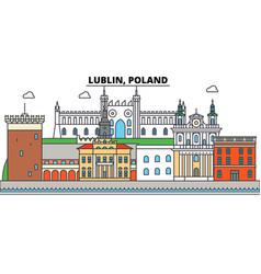 poland lublin city skyline architecture vector image