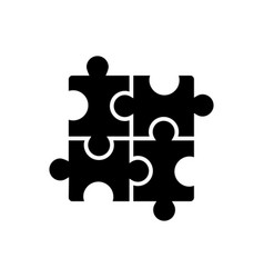 puzzle - jigsaw icon black vector image
