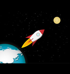 rocket go to the moon from earth vector image
