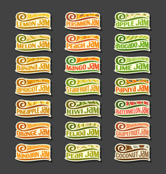 set colorful fruits jam labels vector image