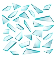 Broken glass shards isolated on white set vector image