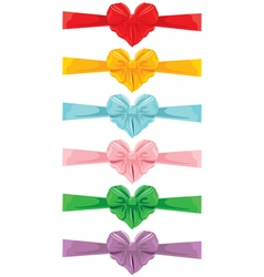 color bow heart shape 380 vector image