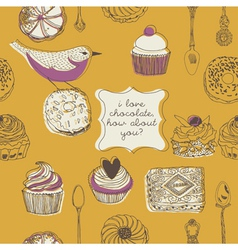 cupcake and birds vector image vector image
