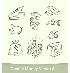 finance doodle set isolated on white background vector image