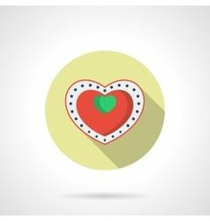 Heart box of chocolates round flat icon vector image