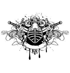 Helmet and swords vector image