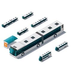 isometric bus set vector image