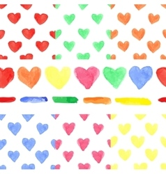 Watercolor colored heart seamless patternBaby vector image