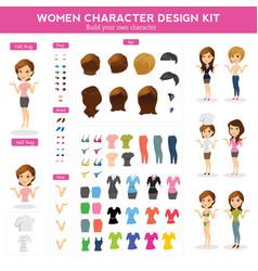 women character design kit vector image